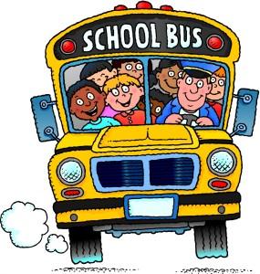 cartoon of kids on a school bus