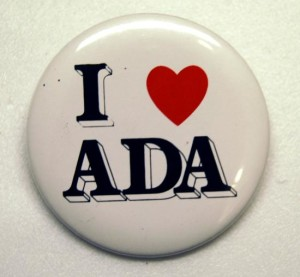 Photo of pin that says I heart ADA