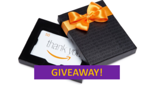 Image of $50 Amazon Gift Card. Underneath it says Giveaway!