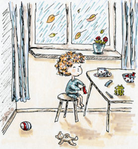 Drawing of child sitting at table with toys all over
