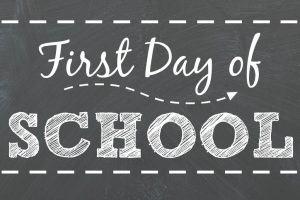Photo says first day of school