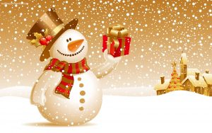 Cartoon image of snowman holding present
