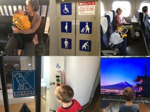 Photo collage showing mother holding son, wheelchair access sign, mom and son on plane, service dog sign, elevator, and son looking at mountain